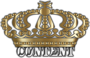 Crown over the word content to show that content is king.